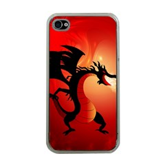 Funny, Cute Dragon With Fire Apple iPhone 4 Case (Clear)