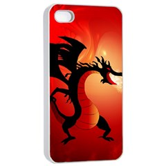 Funny, Cute Dragon With Fire Apple iPhone 4/4s Seamless Case (White)
