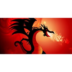 Funny, Cute Dragon With Fire YOU ARE INVITED 3D Greeting Card (8x4)