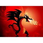 Funny, Cute Dragon With Fire Birthday Cake 3D Greeting Card (7x5)  Front