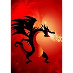 Funny, Cute Dragon With Fire Birthday Cake 3D Greeting Card (7x5)  Inside