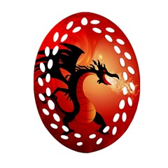 Funny, Cute Dragon With Fire Oval Filigree Ornament (2 Side)