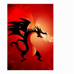 Funny, Cute Dragon With Fire Small Garden Flag (two Sides)