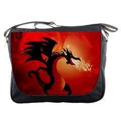 Funny, Cute Dragon With Fire Messenger Bags