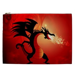 Funny, Cute Dragon With Fire Cosmetic Bag (XXL)