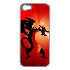 Funny, Cute Dragon With Fire Apple iPhone 5 Case (Silver)