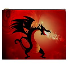 Funny, Cute Dragon With Fire Cosmetic Bag (XXXL)