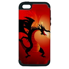 Funny, Cute Dragon With Fire Apple iPhone 5 Hardshell Case (PC+Silicone)
