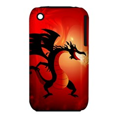 Funny, Cute Dragon With Fire Apple iPhone 3G/3GS Hardshell Case (PC+Silicone)
