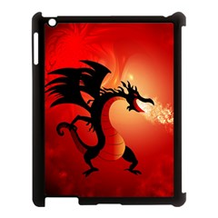 Funny, Cute Dragon With Fire Apple iPad 3/4 Case (Black)