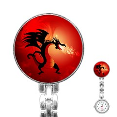 Funny, Cute Dragon With Fire Stainless Steel Nurses Watches