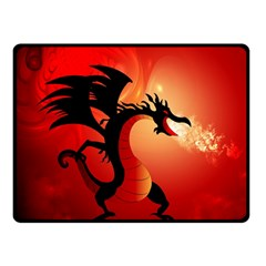 Funny, Cute Dragon With Fire Double Sided Fleece Blanket (Small)
