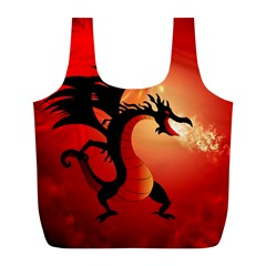 Funny, Cute Dragon With Fire Full Print Recycle Bags (L)