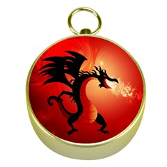 Funny, Cute Dragon With Fire Gold Compasses