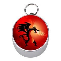 Funny, Cute Dragon With Fire Mini Silver Compasses