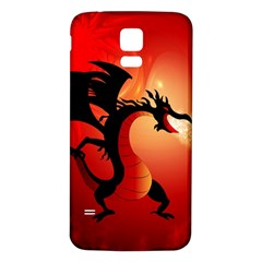 Funny, Cute Dragon With Fire Samsung Galaxy S5 Back Case (White)