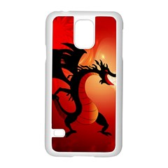 Funny, Cute Dragon With Fire Samsung Galaxy S5 Case (White)