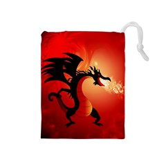 Funny, Cute Dragon With Fire Drawstring Pouches (Medium)
