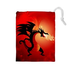 Funny, Cute Dragon With Fire Drawstring Pouches (Large)