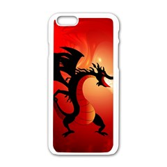 Funny, Cute Dragon With Fire Apple iPhone 6/6S White Enamel Case