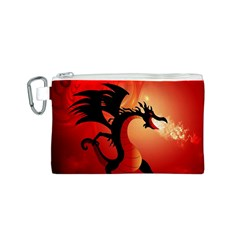 Funny, Cute Dragon With Fire Canvas Cosmetic Bag (S)