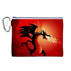 Funny, Cute Dragon With Fire Canvas Cosmetic Bag (L)