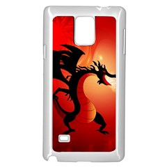 Funny, Cute Dragon With Fire Samsung Galaxy Note 4 Case (White)