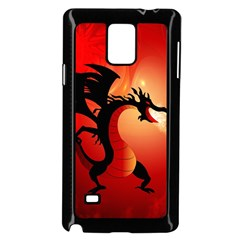 Funny, Cute Dragon With Fire Samsung Galaxy Note 4 Case (Black)
