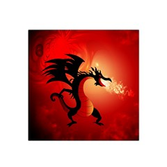Funny, Cute Dragon With Fire Satin Bandana Scarf