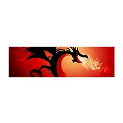 Funny, Cute Dragon With Fire Satin Scarf (Oblong)