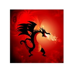 Funny, Cute Dragon With Fire Small Satin Scarf (square)