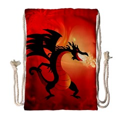 Funny, Cute Dragon With Fire Drawstring Bag (large)
