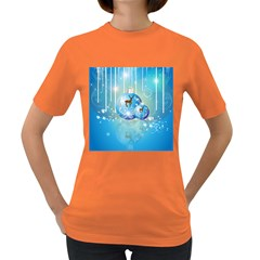 Wonderful Christmas Ball With Reindeer And Snowflakes Women s Dark T Shirt