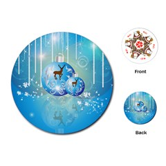 Wonderful Christmas Ball With Reindeer And Snowflakes Playing Cards (round)