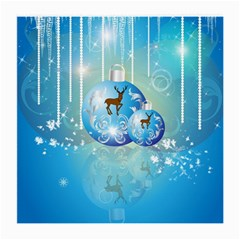 Wonderful Christmas Ball With Reindeer And Snowflakes Medium Glasses Cloth