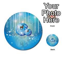 Wonderful Christmas Ball With Reindeer And Snowflakes Multi-purpose Cards (Round)