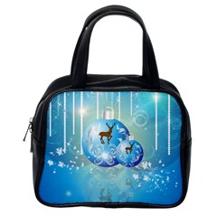 Wonderful Christmas Ball With Reindeer And Snowflakes Classic Handbags (One Side)