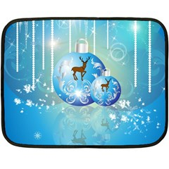 Wonderful Christmas Ball With Reindeer And Snowflakes Double Sided Fleece Blanket (mini)