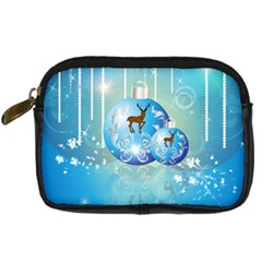 Wonderful Christmas Ball With Reindeer And Snowflakes Digital Camera Cases