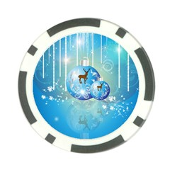Wonderful Christmas Ball With Reindeer And Snowflakes Poker Chip Card Guards (10 Pack)