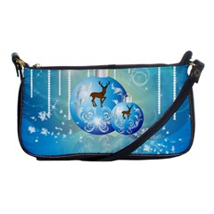Wonderful Christmas Ball With Reindeer And Snowflakes Shoulder Clutch Bags