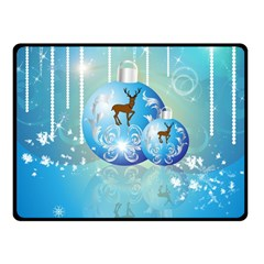 Wonderful Christmas Ball With Reindeer And Snowflakes Fleece Blanket (Small)