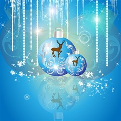 Wonderful Christmas Ball With Reindeer And Snowflakes Magic Photo Cubes