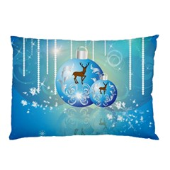 Wonderful Christmas Ball With Reindeer And Snowflakes Pillow Cases (two Sides)