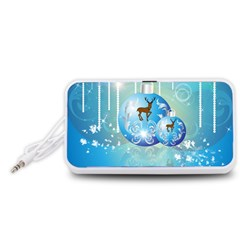 Wonderful Christmas Ball With Reindeer And Snowflakes Portable Speaker (White)
