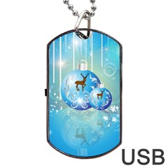 Wonderful Christmas Ball With Reindeer And Snowflakes Dog Tag Usb Flash (two Sides)