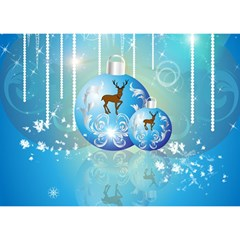 Wonderful Christmas Ball With Reindeer And Snowflakes Birthday Cake 3D Greeting Card (7x5)