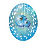 Wonderful Christmas Ball With Reindeer And Snowflakes Oval Filigree Ornament (2-Side)  Front