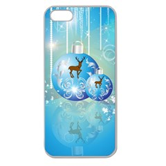 Wonderful Christmas Ball With Reindeer And Snowflakes Apple Seamless iPhone 5 Case (Clear)