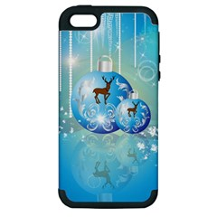 Wonderful Christmas Ball With Reindeer And Snowflakes Apple iPhone 5 Hardshell Case (PC+Silicone)